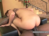 Athletic man with dark skin stretches trimmed vagina of Latina hottie with big penis 9