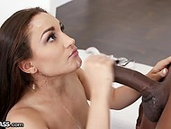 Big black penis intrudes deep into Gabriella Paltrova's throat but she sucks it without any problems 11