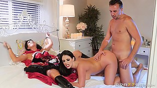 When Romi Rain came to her senses, she took part in MFF sex with husband and vampire Angela White