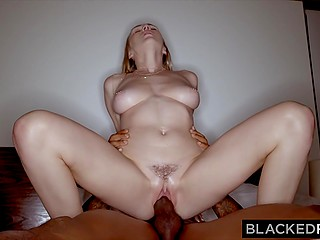 Beautiful white chick films hot encounter in bedroom with Ebony boyfriend on camera