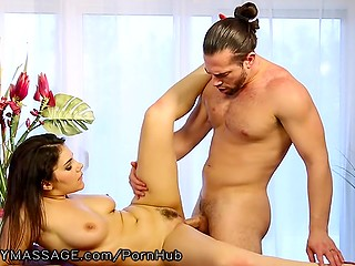 Italian brunette starts massaging client's fuckstick that means her hairy pussy is ready for action