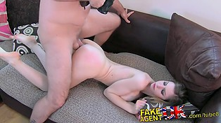 Future pornstar Stella Cox from Italy shows her best moves at casting in Great Britain