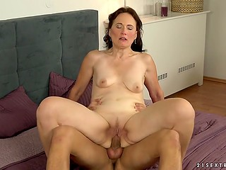 Mature woman has relations with young lover and she regularly has good sex