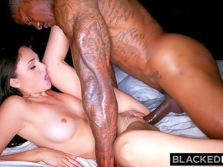 Huge dick of black guy is a big event for flawless babe because she is going to swallow all sperm