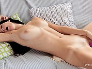 Beautiful brunette couldn't resist excitement and used purple dildo to overcome it 4