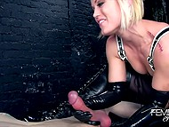 Blonde Ash Hollywood dressed in latex clothing uses only hands to satisfy bound guy's cock 10