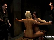Light-haired girl and her friend are mercilessly flogged in BDSM video to be reeducated 5