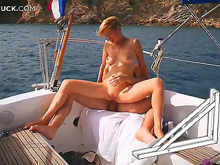 Bald man brought attractive wife to boat trip and stretched her asshole with strong cock