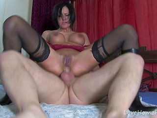 Amateur French MILF in black stockings and her lover film their anal encounter on camera