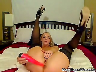 Provocative blonde with great natural breasts masturbates beautiful pussy in webcam video