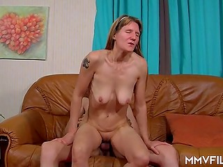 German guy is penetrating hot blonde MILF to help her get unbelievable orgasm that she deserves