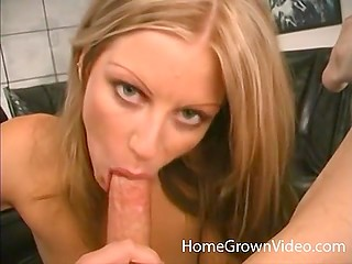 Beautiful blonde isn't professional but gives spectacular blowjob to lucky guy with camera