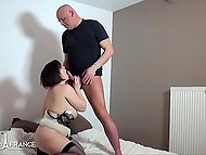 Hard penis of hubby made big-boobied woman know that she must satisfy her man without delay 9
