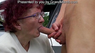 Shameless new-waver met lonely grannie on the back road and paid her for quick blowjob