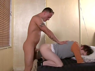 Tattooed macho enjoyed deepthroat blowjob and immediately proceeded to anal fuck