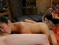 Chicks torment Asian girlfriend with toys and make her give them cunnilingus in BDSM cellar 10