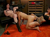 Chicks torment Asian girlfriend with toys and make her give them cunnilingus in BDSM cellar 11