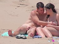 Perverted voyeur films concupiscent couples making love on nudist beach