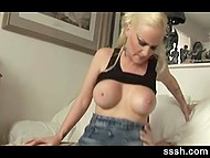 Slutty blonde with big tits moans sweetly because of partner's penis inside shaved snatch 7