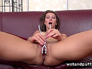 Orgasm it's just question of time when long-legged girl polishes her sissy with dildo and vibrator at the same time 6