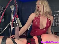 White-headed mistress tied disobedient man to table and tried to make his cock bigger 11