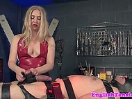 White-headed mistress tied disobedient man to table and tried to make his cock bigger 5
