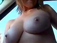 Attractive girl agreed to show guy her perfect natural boobs and trimmed pussy right in car 7