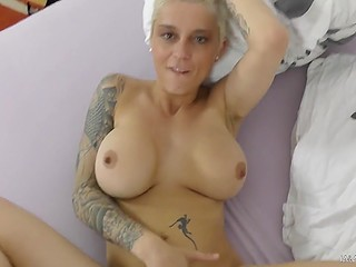 Short-haired beauty Mila Milan needs good fuck and buddy gladly stuffs pussy with his bulge