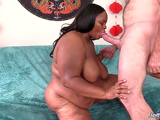 Lascivious BBW with dark skin stimulated vagina and made white male ready for upcoming action