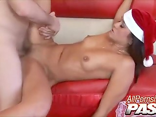Girl doesn't know what to get man for Christmas and simply allows male to cum inside
