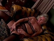 Before bed female in black underwear shuts herself up in husband's office to masturbate 10