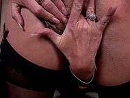 Before bed female in black underwear shuts herself up in husband's office to masturbate 4