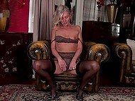 Before bed female in black underwear shuts herself up in husband's office to masturbate 7