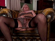 Before bed female in black underwear shuts herself up in husband's office to masturbate 8