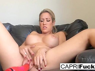 Admirers don't have cocks that big to compare with dildo so Capri Cavanni fucks herself