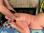 Gray-haired masseur relaxes chubby brunette client using skillful hands and his favorite vibrator 4