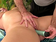 Gray-haired masseur relaxes chubby brunette client using skillful hands and his favorite vibrator 7