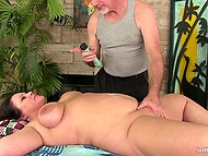 Gray-haired masseur relaxes chubby brunette client using skillful hands and his favorite vibrator 8