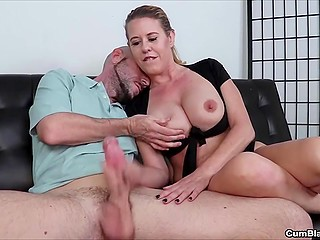 Bald man is going to give MILF a lesson about handjob and cum over her huge hooters