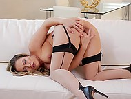 Pornstar with curvaceous shapes wears flesh-colored stockings and gets it on alone 7