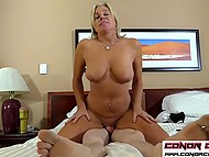 Blonde woman catches long-haired boy jerking off and decides to let him use her vagina 6