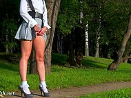Pretty Russian female Jeny Smith went out and slowly took every item of clothes off 6