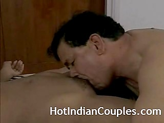 Mature guy brings good-looking Indian girl in his hotel room for unhurried and amazing sex affair