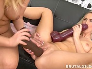 Chick and another lesbian female want humping and found quiet place to do it with giant sex toys 10