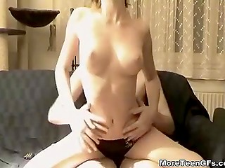 Tender pussy and mouth of sexy babe gives joy to erect tool of horny boy but never makes it ejaculate