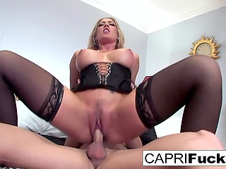 Smoking-hot Capri Cavanni puts on seductive lingerie and boyfriend fucks her in cowgirl position