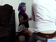 Emo-girl with small tits and colored hair wears jean shorts and receives dick in mouth and pussy 6