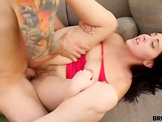 Hot girl allows stepbrother to spit on the rules and thrust cock in her mouth and muff