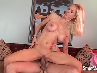 Great advantages of blonde MILF are that she has massive tits and desire to be analyzed