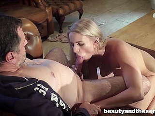 Old man is tired of blonde who masturbates too much and he treats chick's pussy with cock